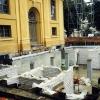 Arbeiten am unterirdischen Anbau für Garderobe und WC